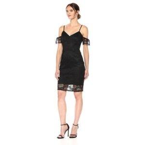 Guess Black Lace Cold Shoulder Cocktail Dress Sz 4
